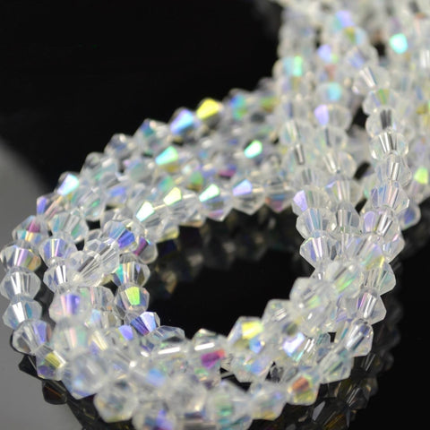 STAR BEADS: 80 FACETED BICONE CRYSTAL GLASS BEADS CLEAR AB 4MM/ 5MM/ 6MM - Bicone Beads