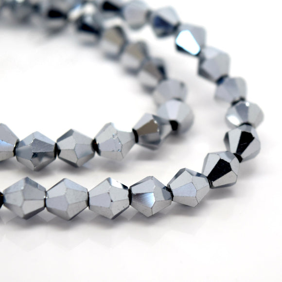 STAR BEADS: FACETED BICONE GLASS BEADS - METALLIC SILVER - Bicone Beads
