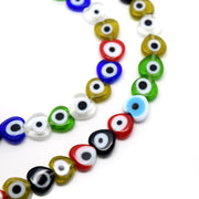 STAR BEADS: 48 X EVIL EYE HEART GLASS BEADS 8MM MIXED COLOURS - Evil Eye Beads