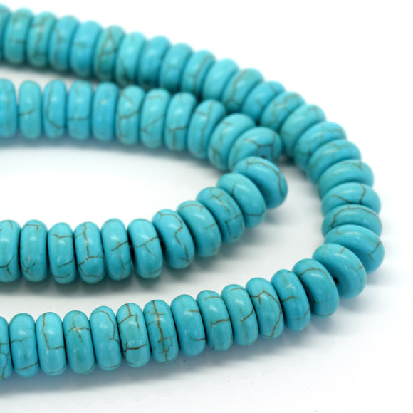 STAR BEADS: 135 X SYNTHETIC TURQUOISE 8X3MM RONDELLE DISC BEADS - Glass Gemstone Beads