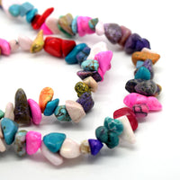 "STAR BEADS: 34"" SYNTHETIC MIX TURQUOISE GEMSTONE CHIPS 250+ BEADS 5-8MM - Glass Gemstone Beads"