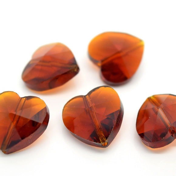 STAR BEADS: 10 X FACETED GLASS HEART BEADS 14MM - AMBER - Heart Beads