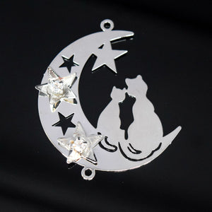 STAR BEADS: 2 x Filigree SP Connectors With Rhinestones - Moon 32x38mm - Jewellery Findings