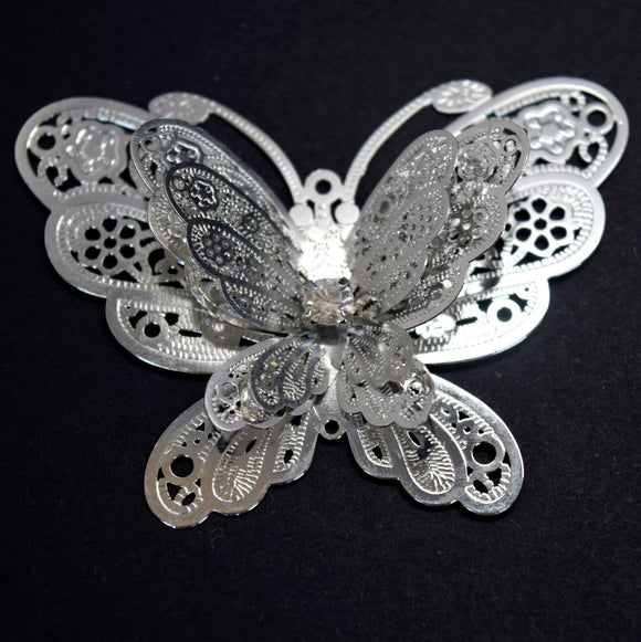 STAR BEADS: 2 X FILIGREE SP CONNECTORS WITH RHINESTONES - BUTTERFLY 37X50MM - Jewellery Findings