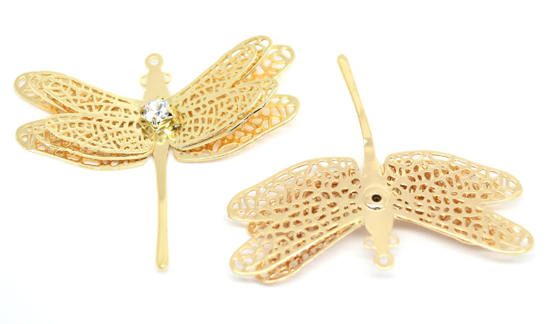 STAR BEADS: 2 x Filigree GP Connectors With Rhinestones - Dragonfly 30x36mm - Jewellery Findings