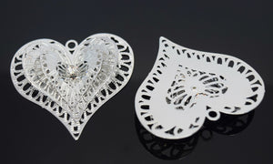 STAR BEADS: 2 x Filigree SP Connectors With Rhinestones - Heart 3D 40x43mm - Jewellery Findings