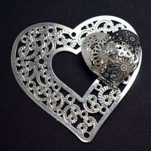 STAR BEADS: 2 x Filigree SP Connectors With Rhinestones - Heart 42x43mm - Jewellery Findings
