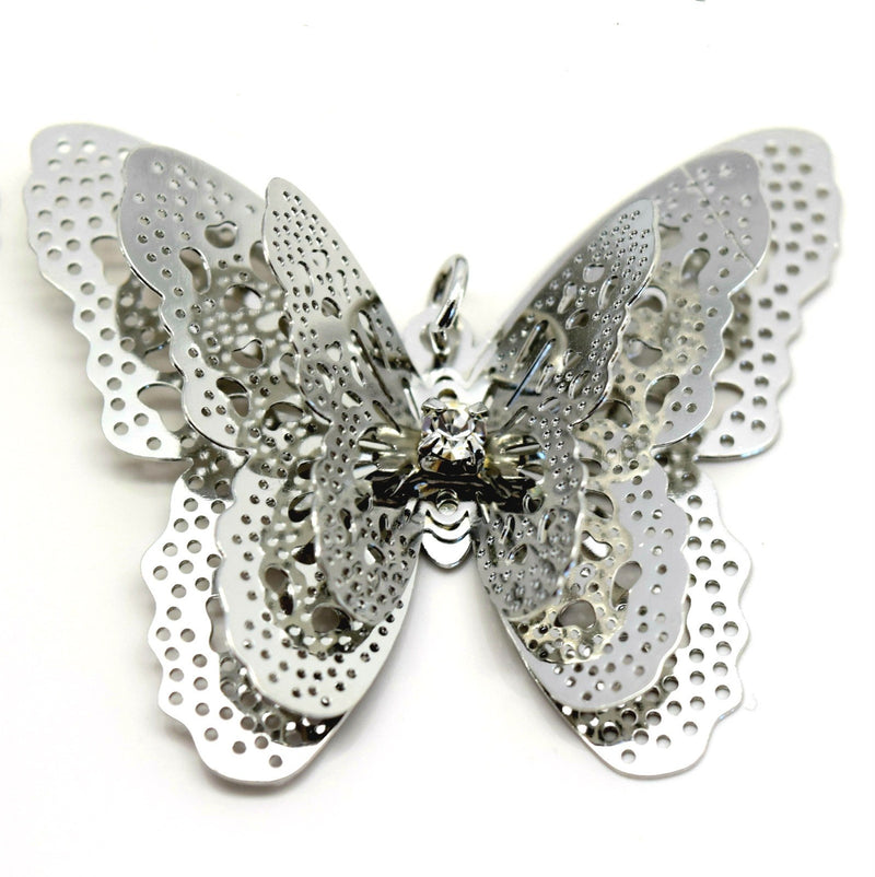 STAR BEADS: 4 x Filigree Butterfly Rhinestone Pendants 40x35mm - Antique Silver Plated - Jewellery Findings
