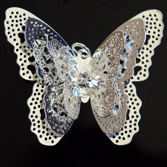 STAR BEADS: 4 x Filigree Butterfly Rhinestone Pendants 40x35mm - Silver Plated - Jewellery Findings