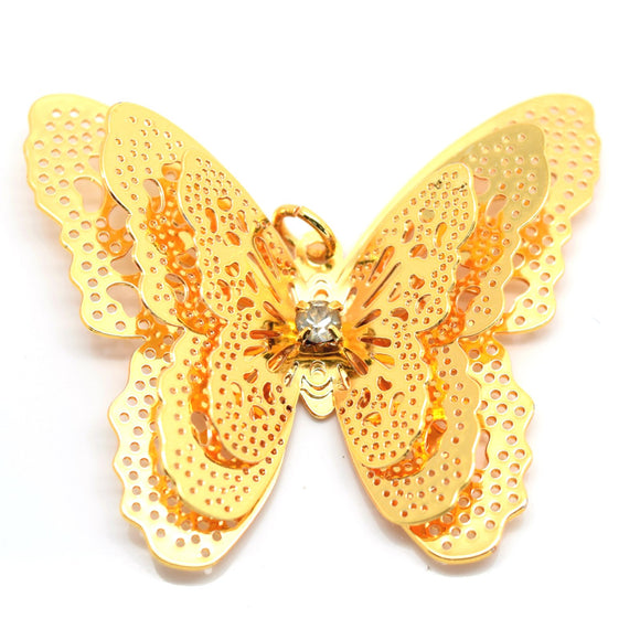 STAR BEADS: 4 x Filigree Butterfly Rhinestone Pendants 40x35mm - Gold Plated - Jewellery Findings