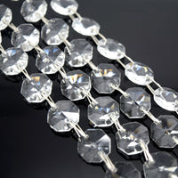 STAR BEADS: 1 METRE OCTAGON GLASS BEAD CHAIN 14MM - PICK COLOUR - Octagon Glass Beads