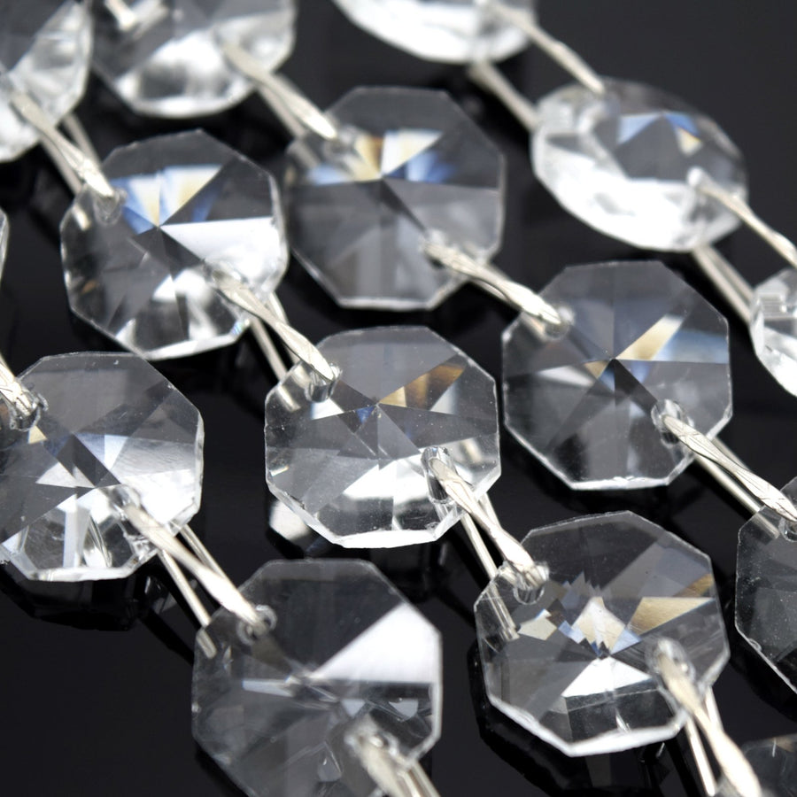 STAR BEADS: 1 Metre Octagon Glass Bead Chain 14mm Clear - Silver Straight - Octagon Glass Beads