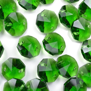 STAR BEADS: OCTAGON GLASS BEADS 14MM - GREEN - Octagon Glass Beads