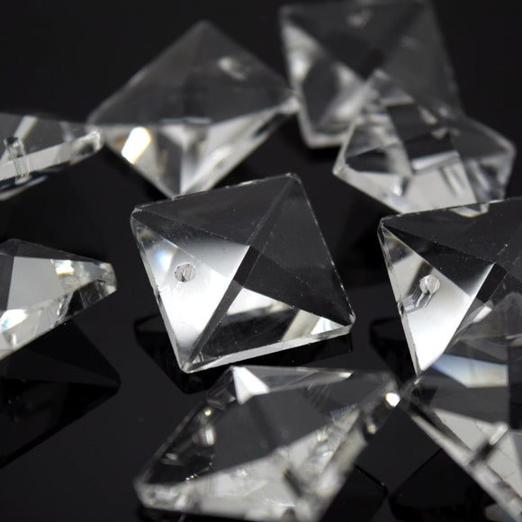 STAR BEADS: 10 x Faceted Glass Clear Square Beads 20mm  - One / Two Holes - Octagon Glass Beads