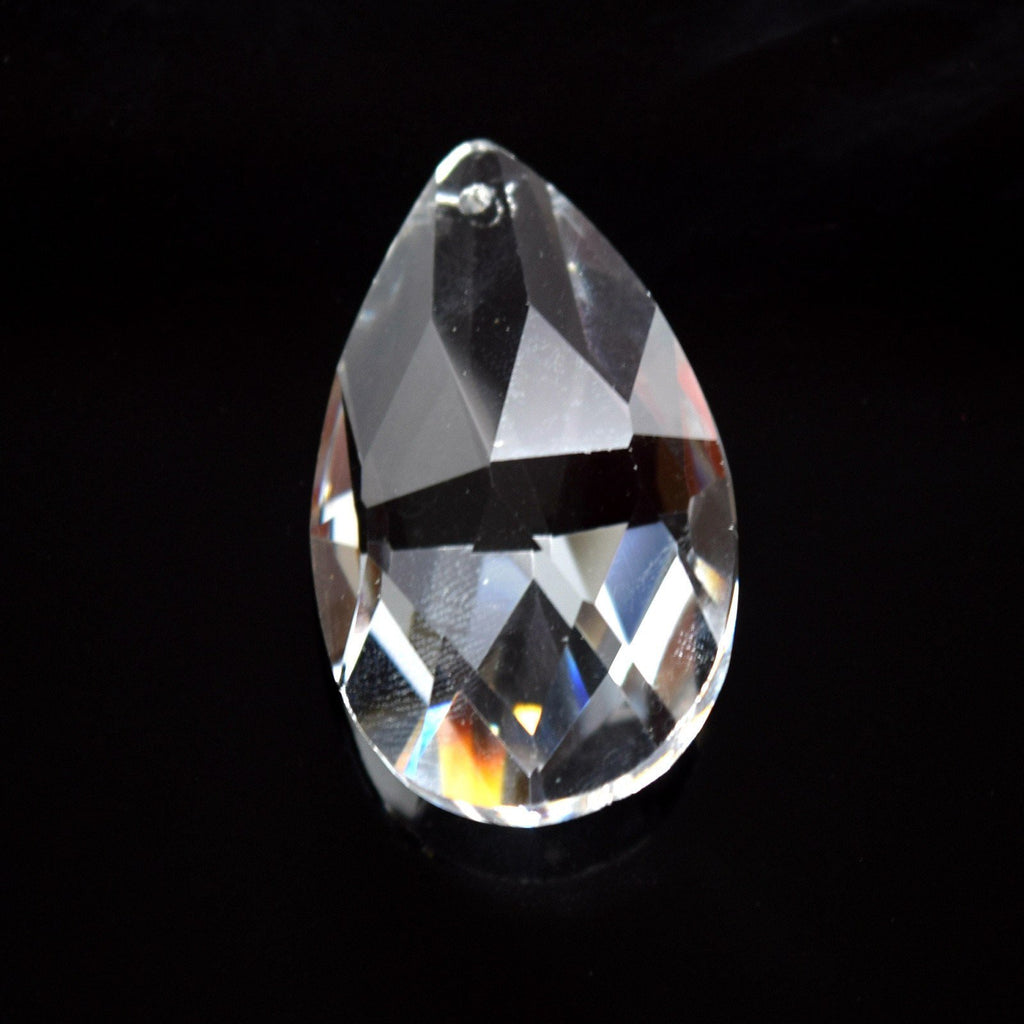 STAR BEADS: 2 X FACETED GLASS CLEAR TEARDROP PENDANTS 38MM - Pendants
