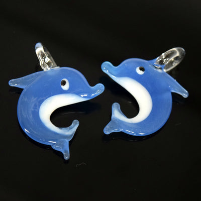 STAR BEADS: 2 X LAMPWORK GLASS DOLPHIN PENDANTS 24X23MM - WHITE / BLUE - Pendants