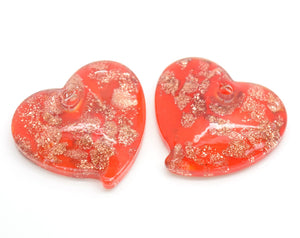 STAR BEADS: 2 X LAMPWORK GLASS HEART PENDANTS 22X20MM - RED / GOLD SAND - Pendants
