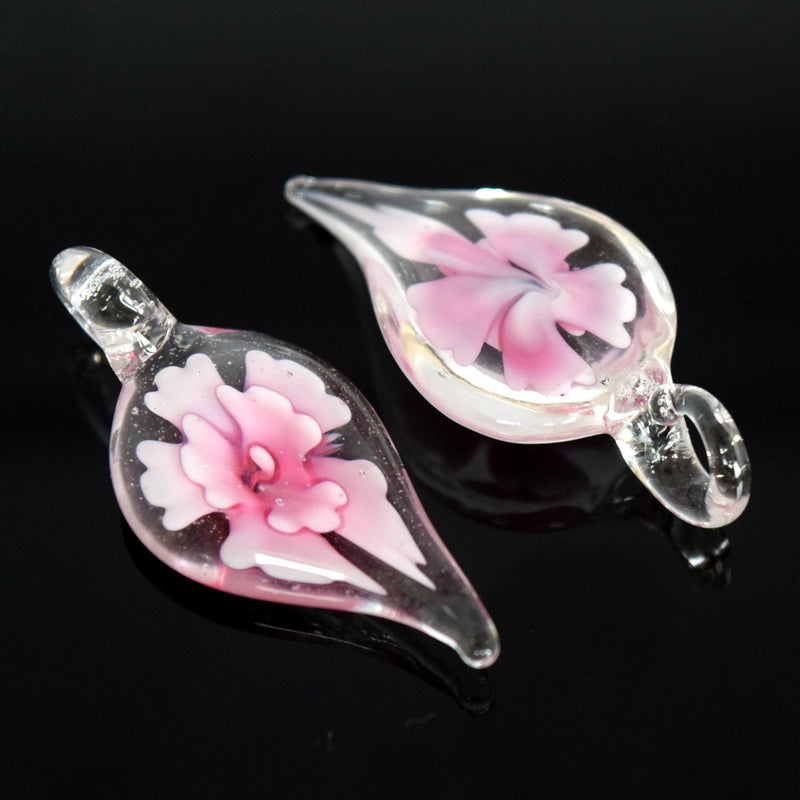STAR BEADS: 2 x Lampwork Glass Teardrop Pendants 38x16mm - Clear / Pink - Pendants