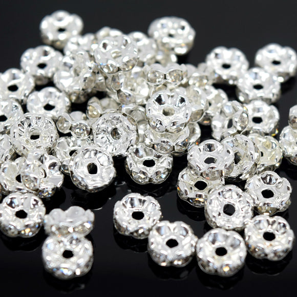 STAR BEADS: GLASS RHINESTONE ROUND SPACER BEADS - WAVY EDGE / SILVER PLATED - Rhinestone Beads