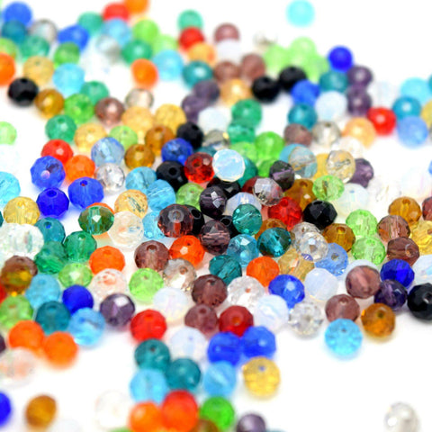 Rondelle Beads - 500 FACETED RONDELLE CRYSTAL GLASS BEADS MIXED 4MM
