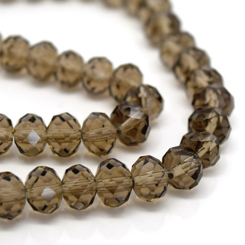 Rondelle Beads - 70PCS FACETED RONDELLE CRYSTAL GLASS BEADS SMOKEY GREY 8X6MM