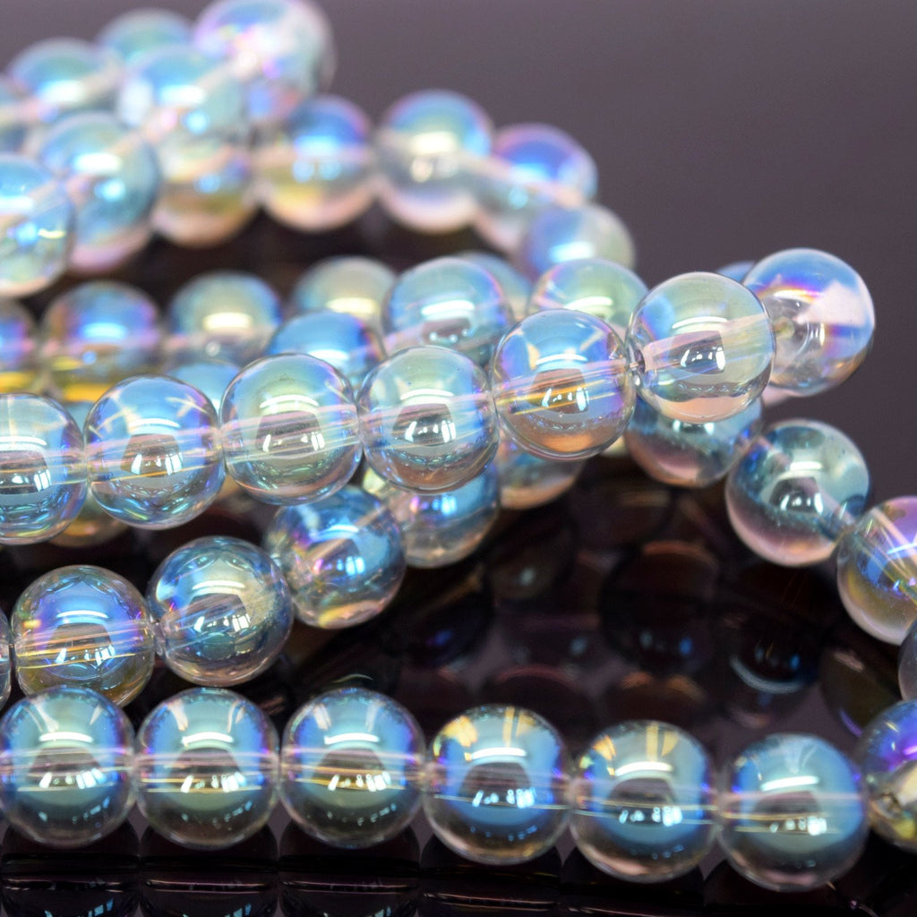 STAR BEADS: 80 X ROUND ELECTROPLATED GLASS BEADS 10MM - PICK COLOUR - Rondelle Beads