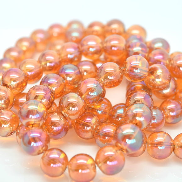 STAR BEADS: 80 x Round Electroplated Glass Beads 10mm - Coral - Rondelle Beads