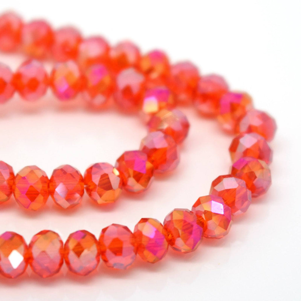 STAR BEADS: 98 -100PCS FACETED RONDELLE GLASS BEADS DARK ORANGE AB 4MM - Rondelle Beads