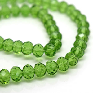 STAR BEADS: 98-100 x Faceted Rondelle Glass Beads Olivine 6x4mm - Rondelle Beads