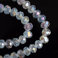 STAR BEADS: FACETED RONDELLE GLASS BEADS CRYSTAL AB - PICK SIZE - Rondelle Beads