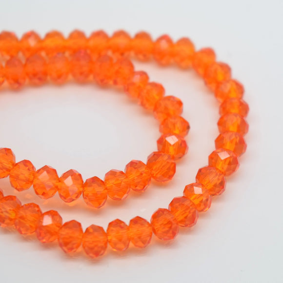 STAR BEADS: FACETED RONDELLE GLASS BEADS ORANGE - PICK SIZE & COLOUR - Rondelle Beads