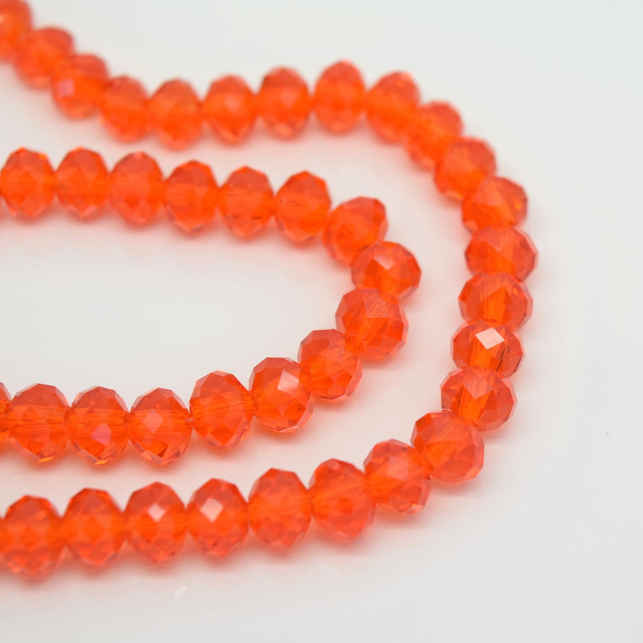 STAR BEADS: FACETED RONDELLE GLASS BEADS - BRIGHT ORANGE - Rondelle Beads