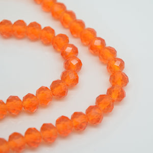 STAR BEADS: 98-100 x Faceted Rondelle Glass Beads 6mm - Orange - Rondelle Beads