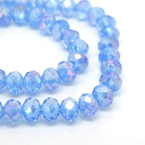 STAR BEADS: FACETED RONDELLE GLASS BEADS - ICE BLUE AB - Rondelle Beads