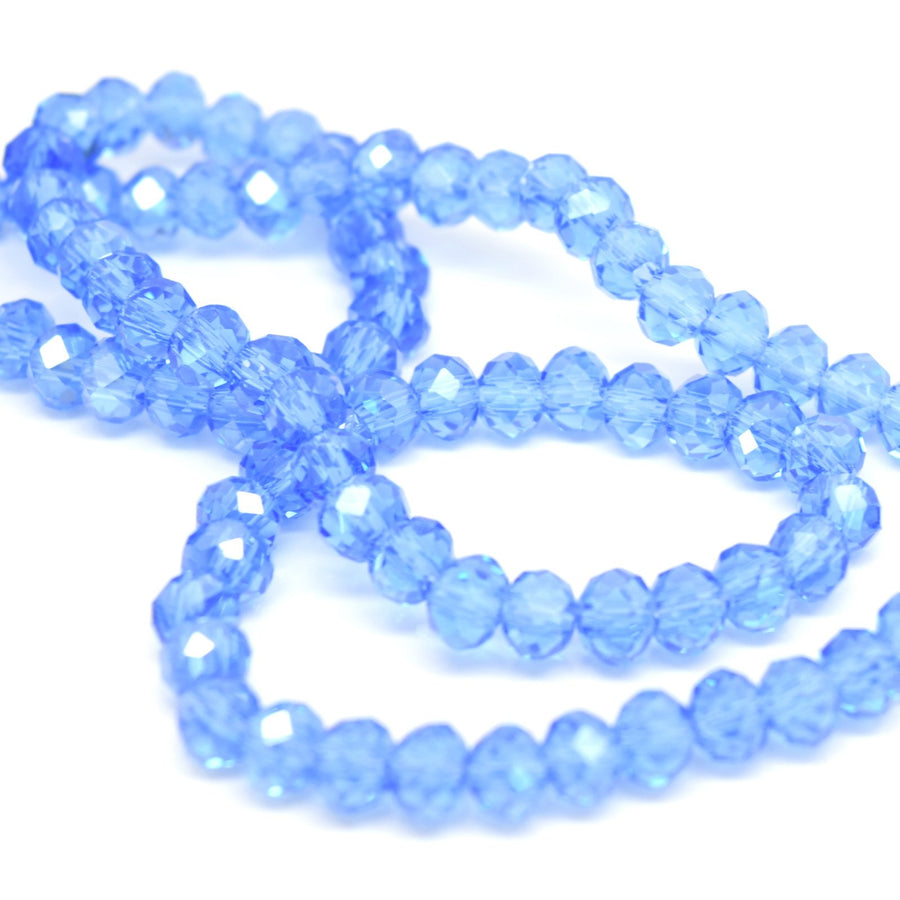 STAR BEADS: FACETED RONDELLE GLASS BEADS - ICE BLUE LUSTRE - Rondelle Beads