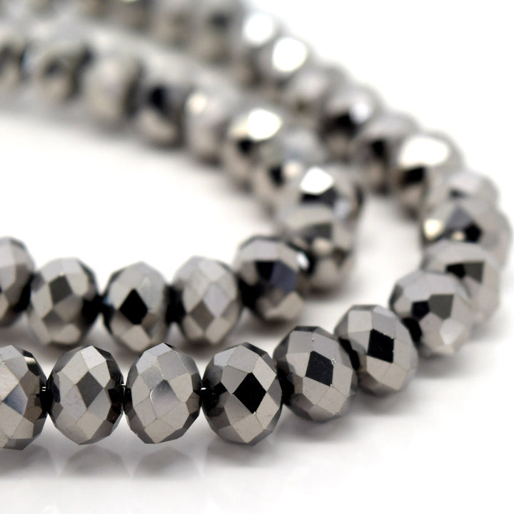 STAR BEADS: FACETED RONDELLE GLASS BEADS - METALLIC SILVER - Rondelle Beads