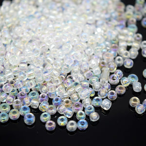 STAR BEADS: Crystal AB Seed Glass Beads - 1.8x2mm / 2.8x3.2mm - Seed Beads