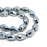 STAR BEADS: FACETED TEARDROP GLASS BEADS - PICK METALLIC COLOUR & SIZE - Teardrop Beads
