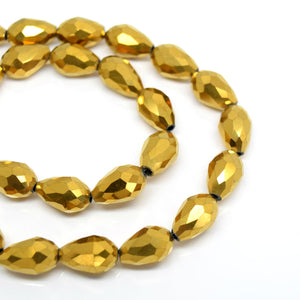 STAR BEADS: METALLIC GOLD FACETED TEARDROP GLASS BEADS - PICK SIZE - Teardrop Beads