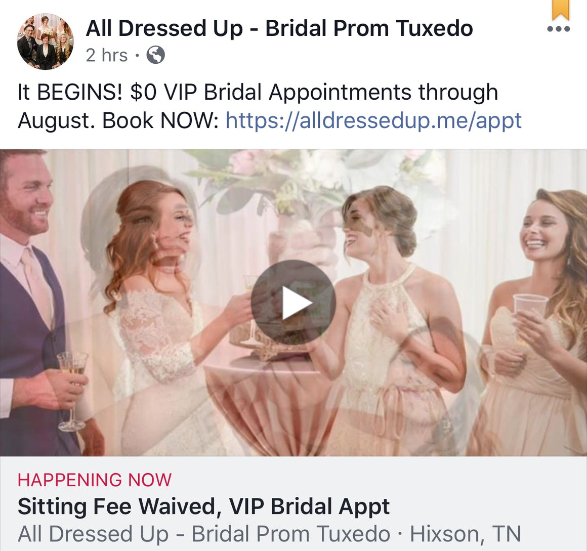 $0 August Bridal Appt Sitting Fee | Book NOW!