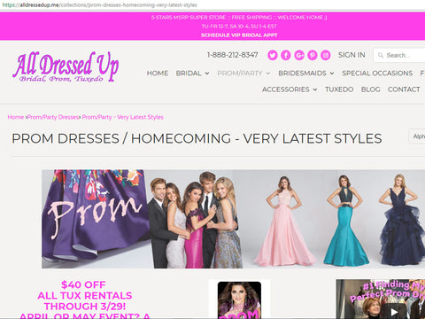 ADU Prom Dresses Website Page