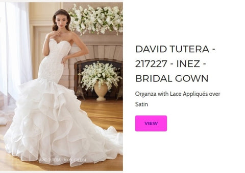 David Tutera Bridal Gown - Inez 217227 for Mon Cheri Wedding Dresses Chattanooga Hixson Shops Boutiques Tennessee TN Georgia GA MSRP Lowest Prices Sale Discount A-Line Fit-And-Flare Mermaid Sheath ball trumpet Empire Sweetheart illusion strapless halter v-neck