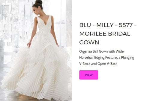 Morilee Blu Bridal Gown - 5577 Milly Madeline Gardner Wedding Dresses Chattanooga Hixson Shops Boutiques Tennessee TN Georgia GA MSRP Lowest Prices Sale Discount A-Line Fit-And-Flare Mermaid Sheath ball trumpet Empire Sweetheart illusion strapless halter v-neck sexy