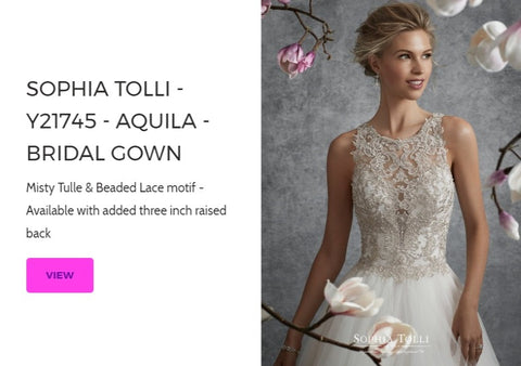 Sophia Tolli Bridal Gown - Aquila Y21745 for Mon Cheri Wedding Dresses Chattanooga Hixson Shops Boutiques Tennessee TN Georgia GA MSRP Lowest Prices Sale Discount A-Line Fit-And-Flare Mermaid Sheath ball trumpet Empire Sweetheart illusion strapless halter v-neck