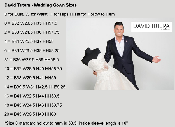 David Tutera Wedding Gown - Size Guide