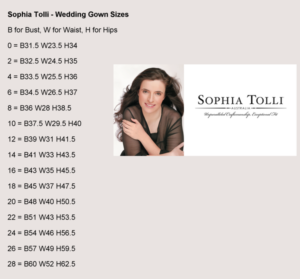 Sophia Tolli Wedding Gowns - Size Guide