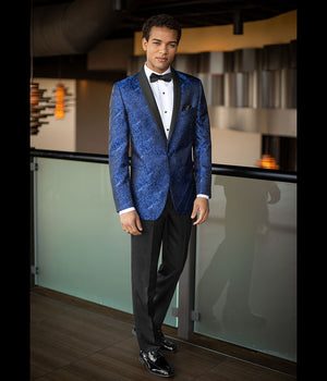 Diamond Plus - 132 - Cobalt Blue Paisley Aries - All Dressed Up, Tuxedo Rental