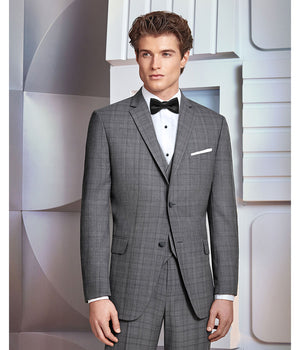 Diamond Plus - 231 - Ultra Slim Grey Plaid Hamilton - All Dressed Up, Suit Rental