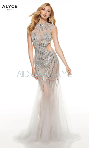 Alyce Paris - 60839 - All Dressed Up, Prom/Party Dress - - Dresses Two Piece Cut Out Sweetheart Halter Low Back High Neck Print Beaded Chiffon Jersey Fitted Sexy Satin Lace Jeweled Sparkle Shimmer Sleeveless Stunning Gorgeous Modest See Through Transparent Glitter Special Occasions Event Chattanooga Hixson Shops Boutiques Tennessee TN Georgia GA MSRP Lowest Prices Sale Discount