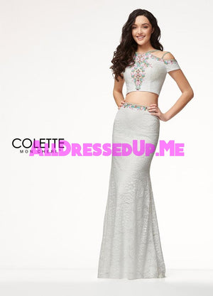 Colette - CL18207 - All Dressed Up, Prom Dress - - Dresses Two Piece Cut Out Sweetheart Halter Low Back High Neck Print Beaded Chiffon Jersey Fitted Sexy Satin Lace Jeweled Sparkle Shimmer Sleeveless Stunning Gorgeous Modest See Through Transparent Glitter Special Occasions Event Chattanooga Hixson Shops Boutiques Tennessee TN Georgia GA MSRP Lowest Prices Sale Discount